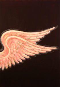 Engelsflügel (zartrosa auf dunkelaubergine, Acryl auf Leinwand, 100cm x 70cm)