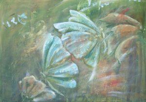 Schmetterlinge, Acryl auf Leinwand, 70 x 90 cm