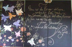 Triptychon: Schmetterlinge, Acryl auf Leinwand, 3 mal 60 x 120 cm